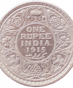 One Rupees India 1915 George V King Emperor Silver Coin