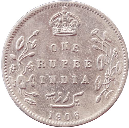 One Rupees India 1906 Edward Vii King Silver Coin