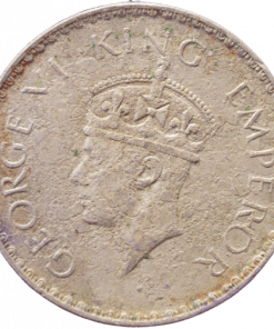 One Rupees India 1941 George Vi King Half Silver Coin