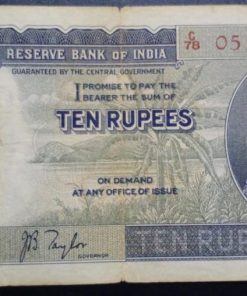 India Ten Rupees Rare British India George Sixth Note Governor J. B. Taylor