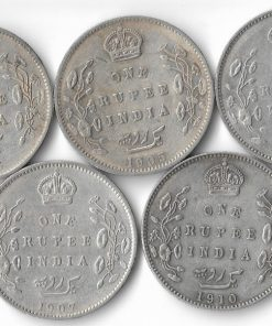 One Rupee Edward Vii 5 date Set 1904,05,06,07,10****Lowest Price**** British India Coins Collection Must Have #4